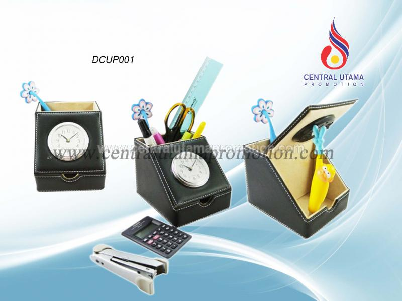 Leather Desk Clock with Pen Holder DCUP001